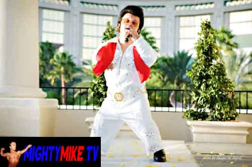 Mighty Mike performing as Mini-Elvis at the Mandalay Hotel in Las Vegas