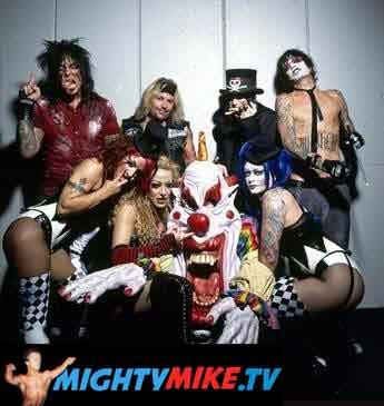 Motley Crue band members and dancers backstage with Mighty Mike the psycho clown