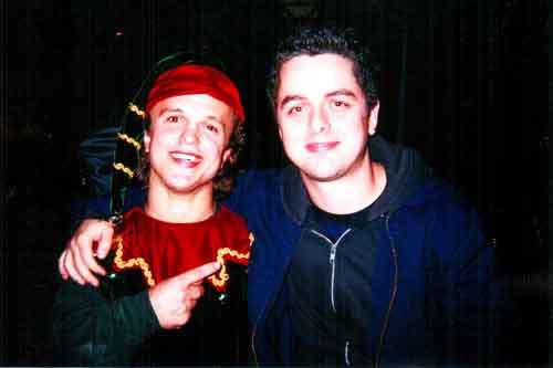 Mighty Mike with Green Day's Billie Joe Armstrong at the 2000 Warner Bros Xmas Party